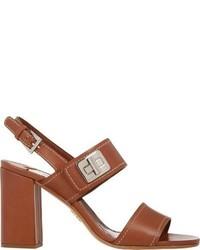 Коричневые кожаные босоножки на каблуке