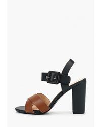 Коричневые кожаные босоножки на каблуке от Super Mode