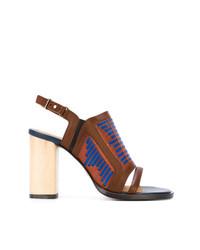Коричневые кожаные босоножки на каблуке от Thakoon Addition