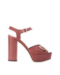 Коричневые кожаные босоножки на каблуке от Tila March