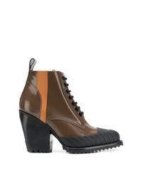 Коричневые кожаные ботильоны на шнуровке от Chloé