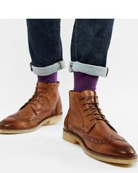 Коричневые кожаные ботинки броги от ASOS DESIGN