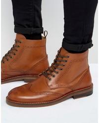 Мужские коричневые кожаные ботинки броги от Asos