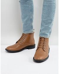Коричневые кожаные ботинки броги от Brave Soul