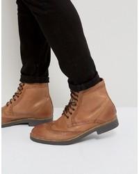 Коричневые кожаные ботинки броги от Frank Wright