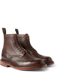 Коричневые кожаные ботинки броги от Grenson