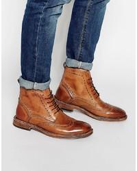 Коричневые кожаные ботинки броги от Kg Kurt Geiger