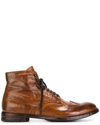 Коричневые кожаные ботинки броги от Officine Creative