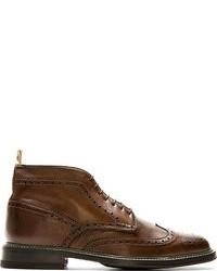 Коричневые кожаные ботинки броги от Paul Smith