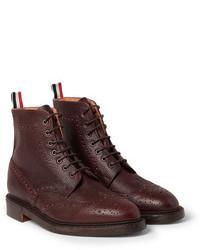 Коричневые кожаные ботинки броги от Thom Browne