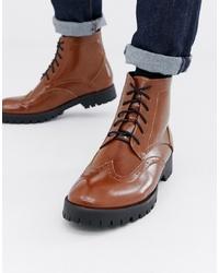 Коричневые кожаные ботинки броги от Truffle Collection