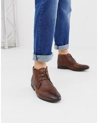 Коричневые кожаные ботинки дезерты от ASOS DESIGN