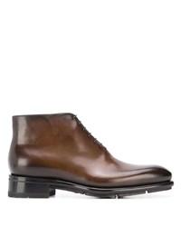 Коричневые кожаные ботинки дезерты от Santoni