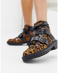 Женские коричневые кожаные ботинки на шнуровке с леопардовым принтом от RAID
