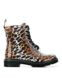 Женские коричневые кожаные ботинки на шнуровке с леопардовым принтом от Sergio Rossi