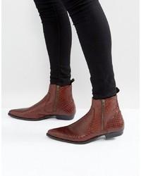Коричневые кожаные ботинки челси со змеиным рисунком
