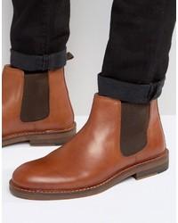 Мужские коричневые кожаные ботинки челси от Asos