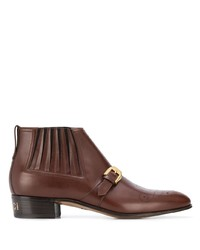 Мужские коричневые кожаные ботинки челси от Gucci
