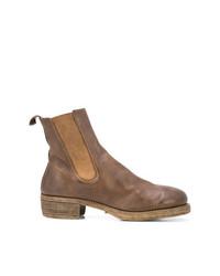 Мужские коричневые кожаные ботинки челси от Guidi
