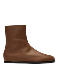 Мужские коричневые кожаные ботинки челси от Maison Margiela