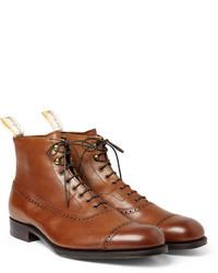 Коричневые кожаные ботинки