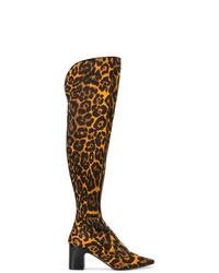 Коричневые кожаные ботфорты с леопардовым принтом от Fabrizio Viti
