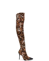 Коричневые кожаные ботфорты с леопардовым принтом от Giuseppe Zanotti Design