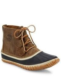Коричневые кожаные зимние ботинки