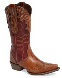 Коричневые кожаные ковбойские сапоги