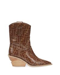Женские коричневые кожаные ковбойские сапоги от Fendi