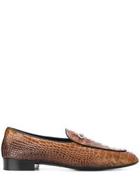 Мужские коричневые кожаные лоферы от Giuseppe Zanotti Design