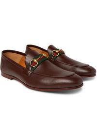 Мужские коричневые кожаные лоферы от Gucci