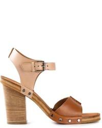 Коричневые кожаные массивные босоножки на каблуке