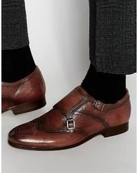 Мужские коричневые кожаные монки с двумя ремешками
