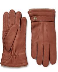 Мужские коричневые кожаные перчатки от Dents
