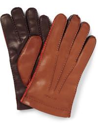 Мужские коричневые кожаные перчатки от Etro
