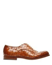 Коричневые кожаные плетеные туфли дерби
