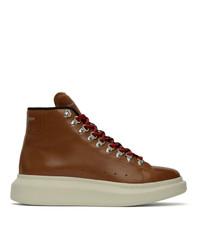 Мужские коричневые кожаные повседневные ботинки от Alexander McQueen