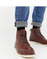 Мужские коричневые кожаные повседневные ботинки от ASOS DESIGN