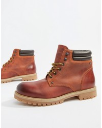 Мужские коричневые кожаные повседневные ботинки от Jack & Jones