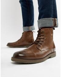 Мужские коричневые кожаные повседневные ботинки от Pier One