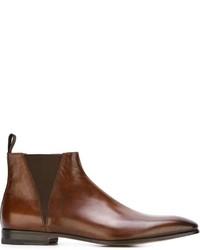 Мужские коричневые кожаные повседневные ботинки от Santoni
