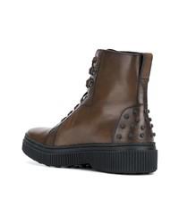 Мужские коричневые кожаные повседневные ботинки от Tod's
