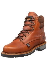 Коричневые кожаные рабочие ботинки