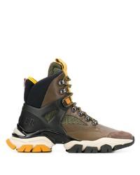 Мужские коричневые кожаные рабочие ботинки от Moncler