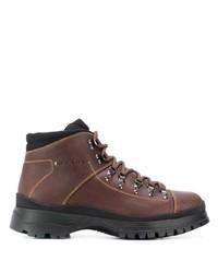 Мужские коричневые кожаные рабочие ботинки от Prada