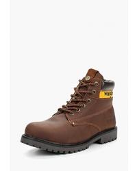 Мужские коричневые кожаные рабочие ботинки от Wrangler