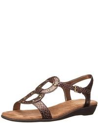 Коричневые кожаные сандалии на плоской подошве со змеиным рисунком