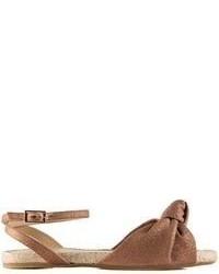 Коричневые кожаные сандалии на плоской подошве