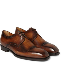 Коричневые кожаные туфли дерби от Berluti